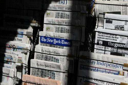 Newspapers are displayed at a newsstand on October 26, 2009 in San Francisco, California