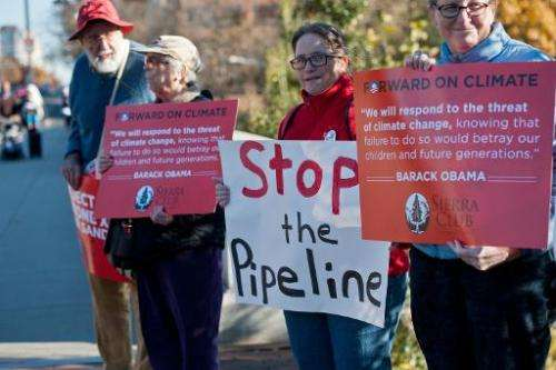 People demonstrate against the proposed Keystone XL pipeline on November 19, 2013 in Washington