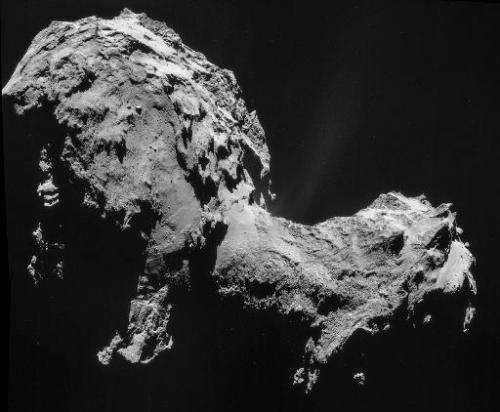 Photo taken and released on September 19, 2014 by the European Space Agency shows a four-image NAVCAM mosaic of Comet 67P/Churyu