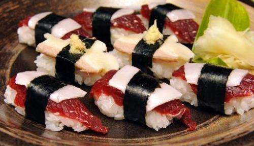 Pieces of whale sushi are seen at a restaurant in Japanese whaling town Ayukawahama, Miyagi prefecture, on June 16, 2010
