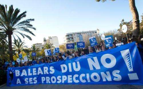 Protestors against oil exploration off the coast of the Balearic Islands demonstrate in Palma de Mallorca, Spain, on February 22