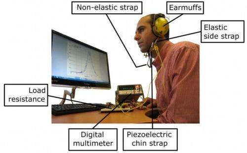 Piezoelectric chin device harvests jaw movements for energy
