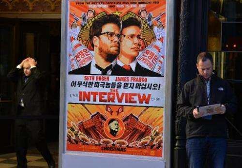 """Security before the premiere of the film """"The Interview""""  in Los Angeles, California on December 11, 2014"""