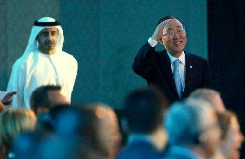 Sheikh Abdullah bin Zayed (L), UAE's Foreign Minister, and UN Secretary General Ban Ki-moon arrive to attend the Abu Dhabi Ascen