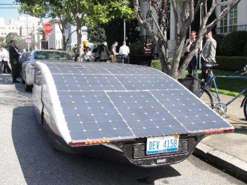 Solar panels covering Stella's roof fuel the street-legal family car parked in San Francisco on September 22, 2014