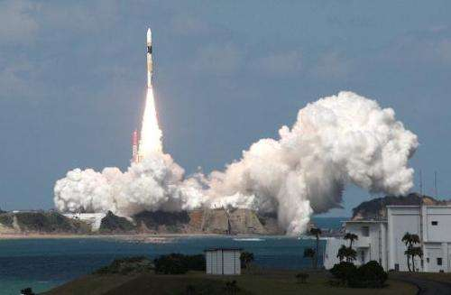 southernJapan's H-IIA rocket blasts off from the Tanegashima Space Center in southern Japan on October 9, 2014