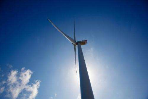 Spain's largest wind turbine, Arinaga, at 154 metres (505 feet) tall with 62.5-metre (205-feet) long blades, is pictured on Gran