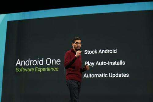 Sundar Pichai speaks on stage during the Google I/O Developers Conference at Moscone Center on June 25, 2014 in San Francisco, C