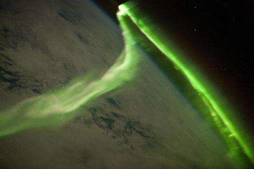 The Aurora Australis is observed from the International Space Station during a geomagnetic storm on May 29, 2010