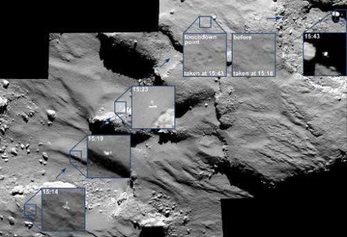 The Philae lander approaches and then reboundes from its first touchdown on Comet 67P/Churyumov–Gerasimenko on November 12, 2014