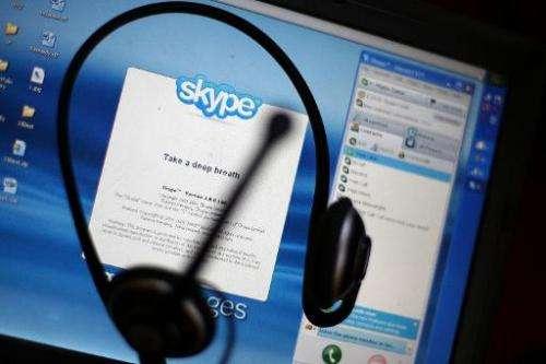 The Skype internet phone program is seen in New York City, on September 1, 2009