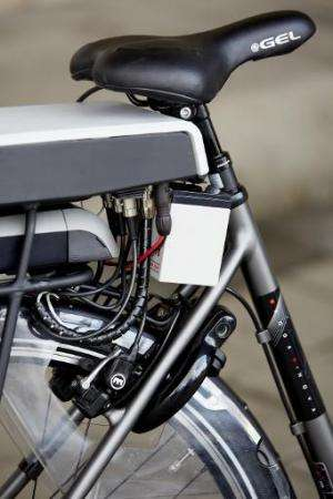 """The special safety technology is seen on the new """"intelligent bicycle"""" in The Hague, Netherlands, on December 15, 2014"""