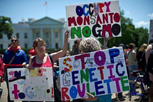 This file photo shows a demonstration against agrochemical giant Monsanto and genetically modified organisms (GMO), in front of