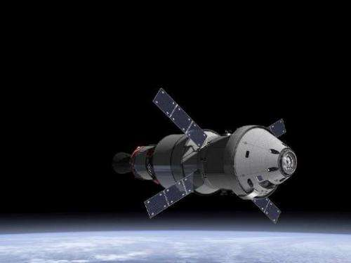 This undated artists rendering provided by NASA and the European Space Agency shows the Orion capsule and the service module in