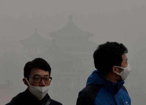 Tourists wear face masks as they climb Jingshan Hill beside the Forbidden City as heavy air pollution shrouds Beijing on Februar