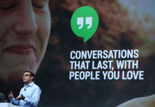 "Vic Gundotra announces ""hangouts"" for Google+ as he speaks during the opening keynote at the Google I/O developers con"
