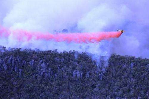Victoria Country Fire Authority handout photo provided on January 17, 2014 shows a plane dropping fire retardant material over b