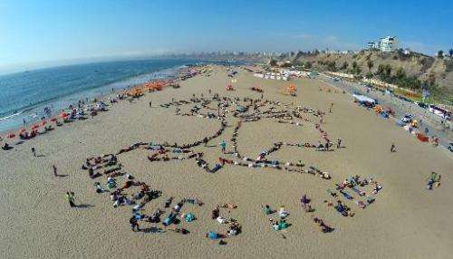 View of an indigenous symbol formed by dozens of activists at a beachfront in Lima, on December 6, 2014, on the sidelines of the