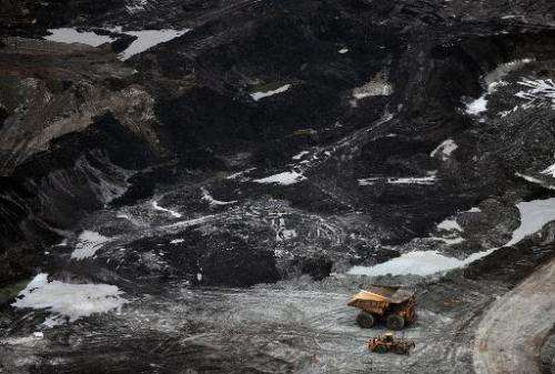 View of an oil sands mine near the town of Fort McMurray in Alberta on October 23, 2009