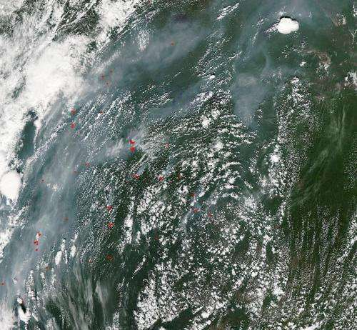 Wildfires dot central Russia's landscape