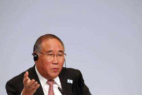 Xie Zhenhua, China's chief climate negotiator, pictured during a press conference in Berlin, on July 14, 2014