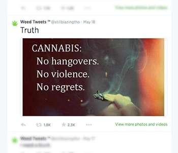 Youth regularly receive pro-marijuana tweets
