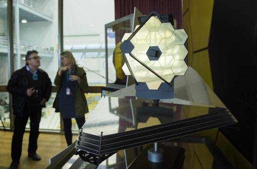 A model of the James Webb Space Telescope NASA Goddard Space Flight Center in Greenbelt, Maryland on April 2, 2015