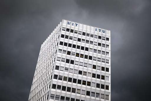 A photo taken on October 7, 2015 shows the headquarters of the International Telecommunication Union (ITU), the UN specialized a