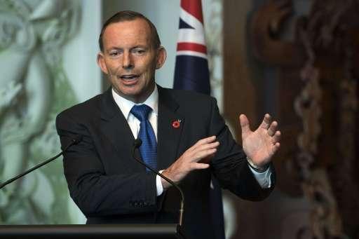 Australian Prime Minister Tony Abbott speaks during a visit to New Zealand, in Wellington, in April 2015