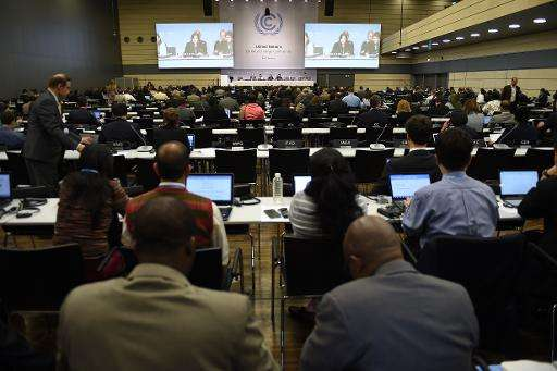 Delegates attend the United Nations Framework Convention on Climate Change (UNFCCC) in Bonn, western Germany on June 1, 2015