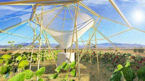 Dew Collector: Greenhouse for food growth, water