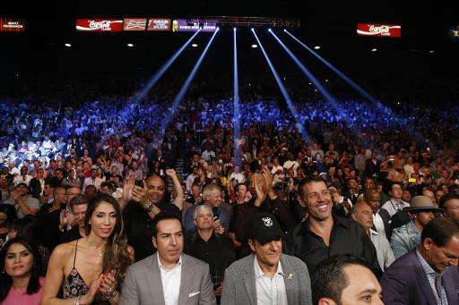 Members of the crowd await the start of the Floyd Mayweather vs Manny Pacquiao welterweight unification fight on May 2, 2015 at
