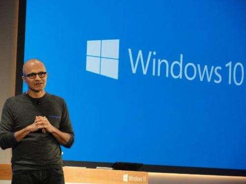 Microsoft chief executive Satya Nadella touts Windows 10 and HoloLens capabilities at a press event at the technology titan's ma