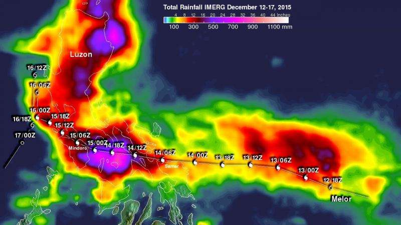 NASA finds huge rainfall totals from Typhoon Melor over Philippines