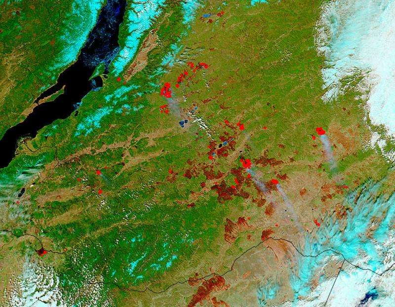 Real and false-color images of Siberia