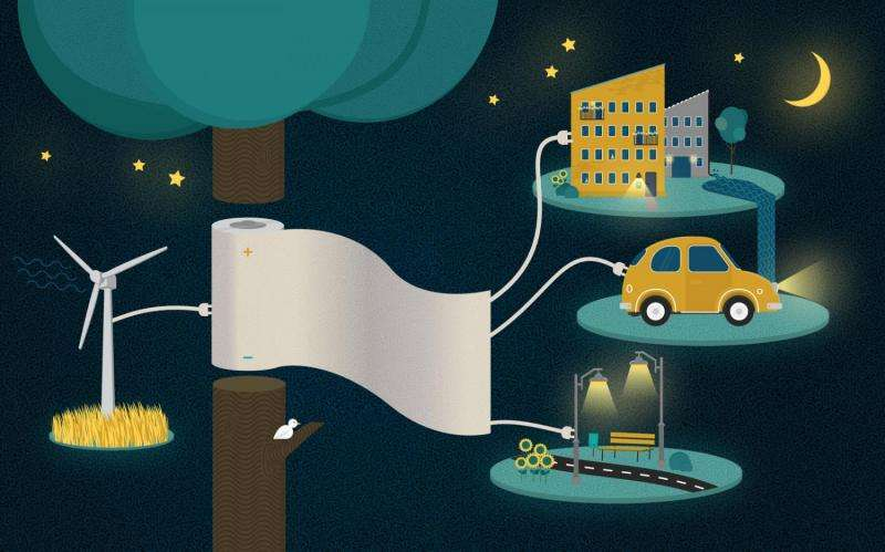 Storing electricity in paper