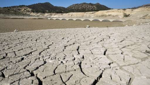 The cracked riverbed of the Amadorio reservoir is seen in Villajoyosa near Alicante where the water is far below usual levels du