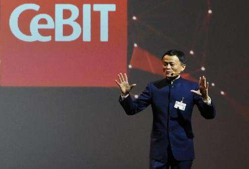 The founder and executive chairman of Alibaba Group, Jack Ma, during the official opening of the CeBIT technology fair in Hanove