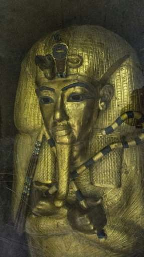 The golden sarcophagus of King Tutankhamun in his burial chamber at Egypt's the Valley of the Kings