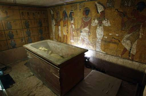 The sarcophagus of King Tutankhamun, known as the 'Child Pharaoh' remains empty in its burial chamber after the mummy was placed