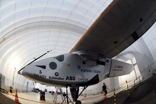 The solar-powered airplane Solar Impulse 2 at a mobile hanger at Nagoya airport in Japan on June 3, 2015