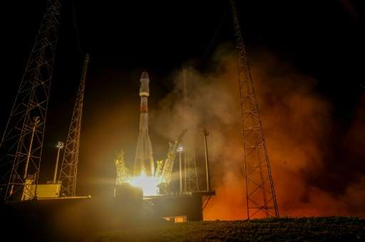 The Soyuz rocket carrying the Galileo 9 and 10 satellites lifts off from Europe's Spaceport in French Guiana on September 11, 20
