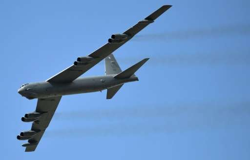 The United States' iconic B-52 Stratofortress, pictured July 9, 2015 at an air show in Colombia, was initially launched in the 1