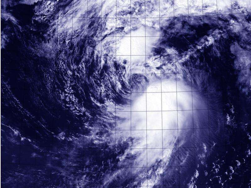 Satellite sees a fan-shaped Tropical Storm Molave