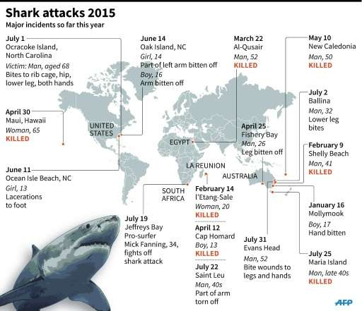 Graphic showing major shark attacks worldwide in 2015