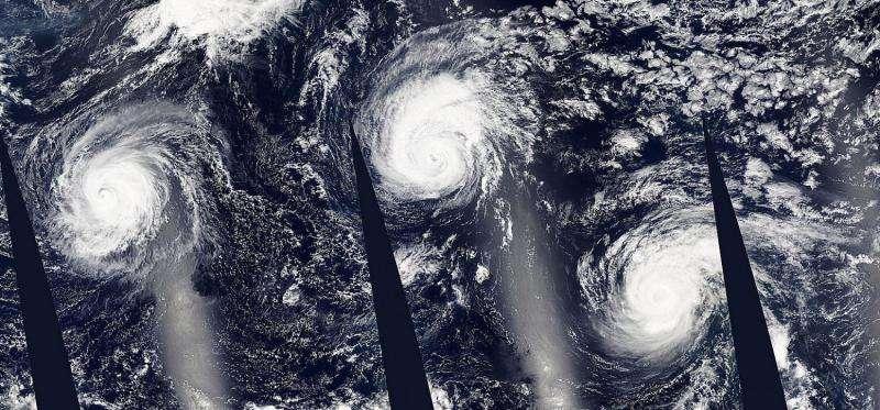 NASA's Aqua Satellite sees Ignacio in a trio across the Pacific