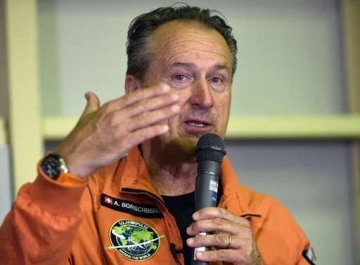 Andre Borschberg, Swiss pilot of Solar Impulse 2, speaks to journalists at the Nagoya airport in Japan on June 24, 2015