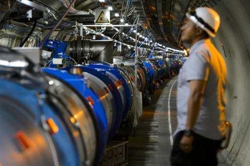 A scientist looks at a section of the European Organisation for Nuclear Research Large Hadron Collider, during maintenance works