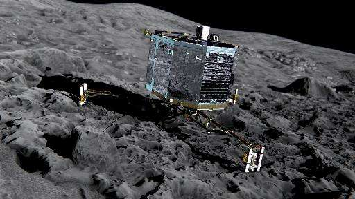 Handout picture by the European Space Agency on December 20, 2013 of an artist's impression of Rosetta's lander Philae on the su