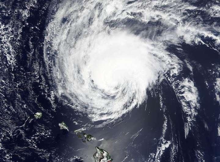 NASA sees a weaker Tropical Storm Ignacio north of Hawaiian Islands